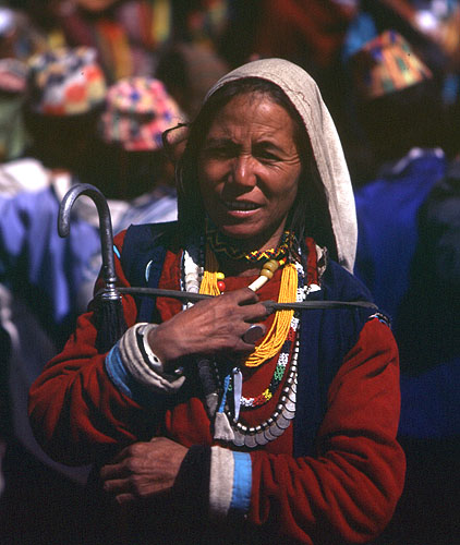 A Chhetri woman from lower Humla at the Jeth Purni festival.Bronica ETRS, 75mm, Fuji Velvia