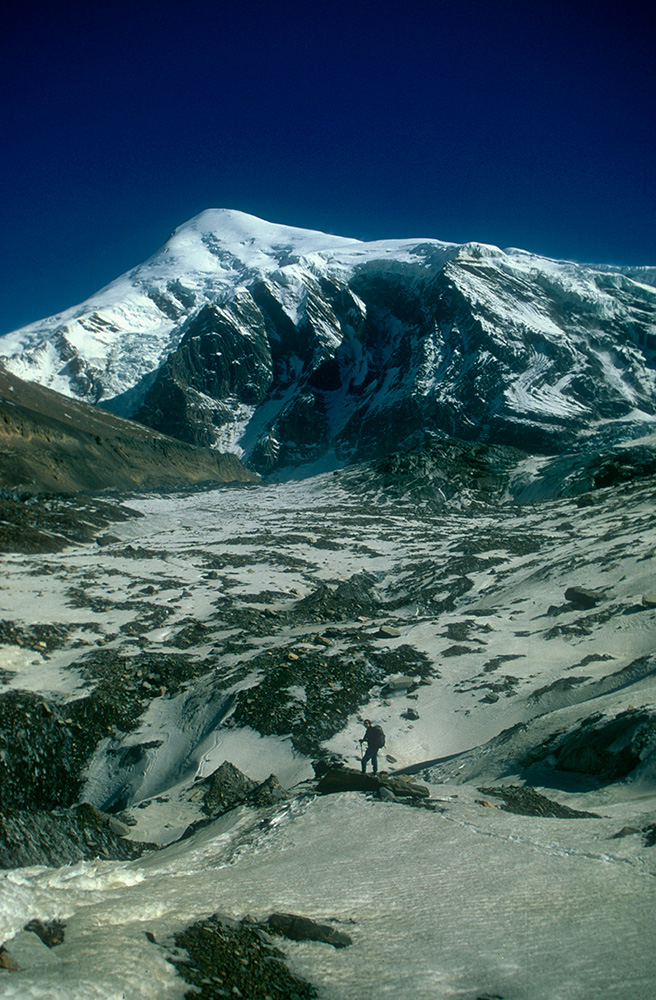 The west face of Tukche Peak (6837m) towers above the upper Chhonbardan glacier and Dhaulagiri base camp.Nikon FM2, 24mm, Fuji Velvia
