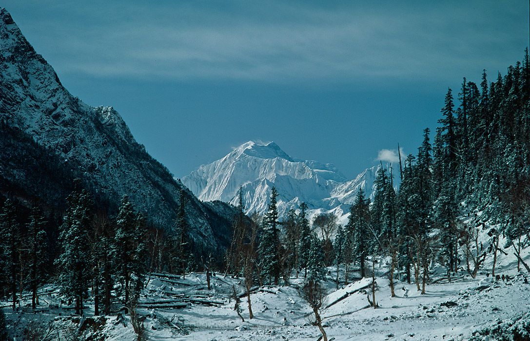 Saipal - 7031m - seen on a snowy December morning from the Chhungsa Kola valleyProject VeronicaMedium format images re-scanned in a professional glass film- holder with my Nikon Coolscan 9000 and Silverfast 8 software. These images display larger on the site - enjoy!Bronica ETRSi, 50mm, Fuji Velvia