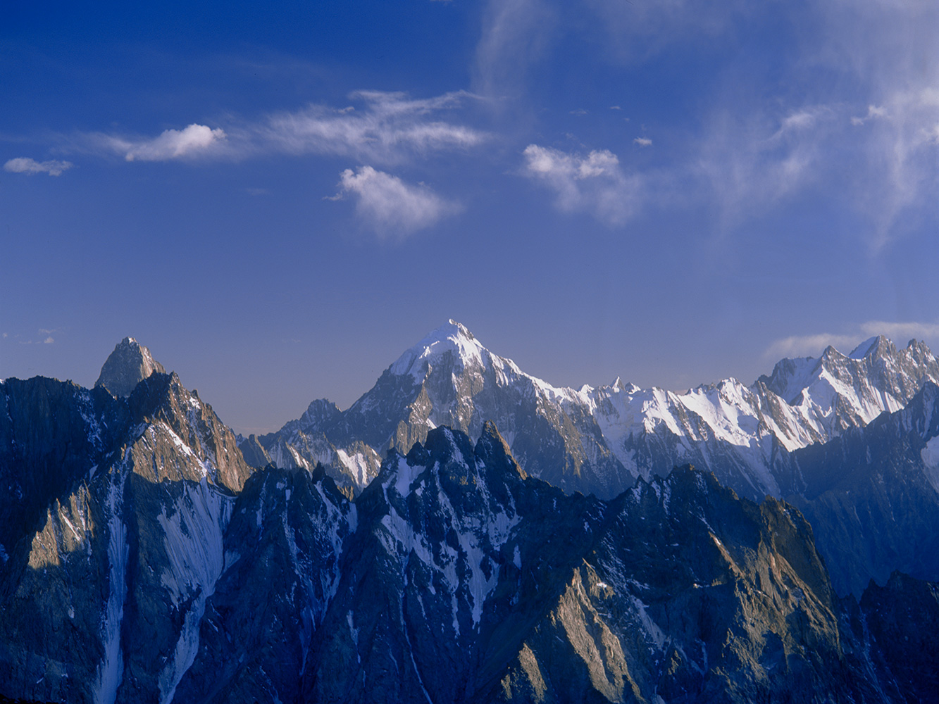 A view of the peaks of Ishkoman from this high camp beneath the western side of the Chillinji Pass