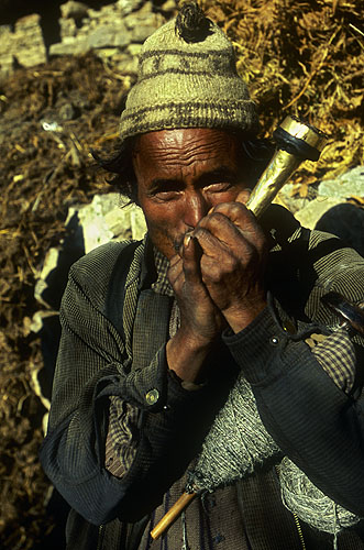Though the potency of the hashish grown in Humla is legendary, most of the people there content themselves with smoking a mixture of tobacco and molasses in their chillum-like pipes.Nikon F5, 17-35mm, Fuji Velvia 100