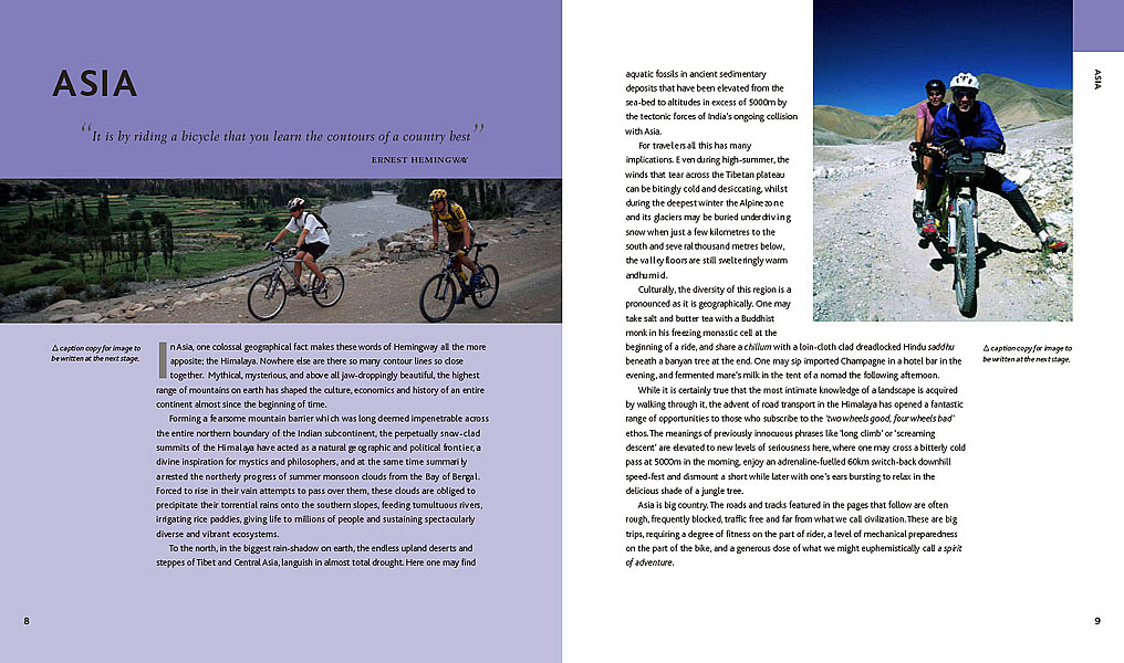A dummy spread for the forthcoming title {quote}Great Cycle Journeys of the World{quote}