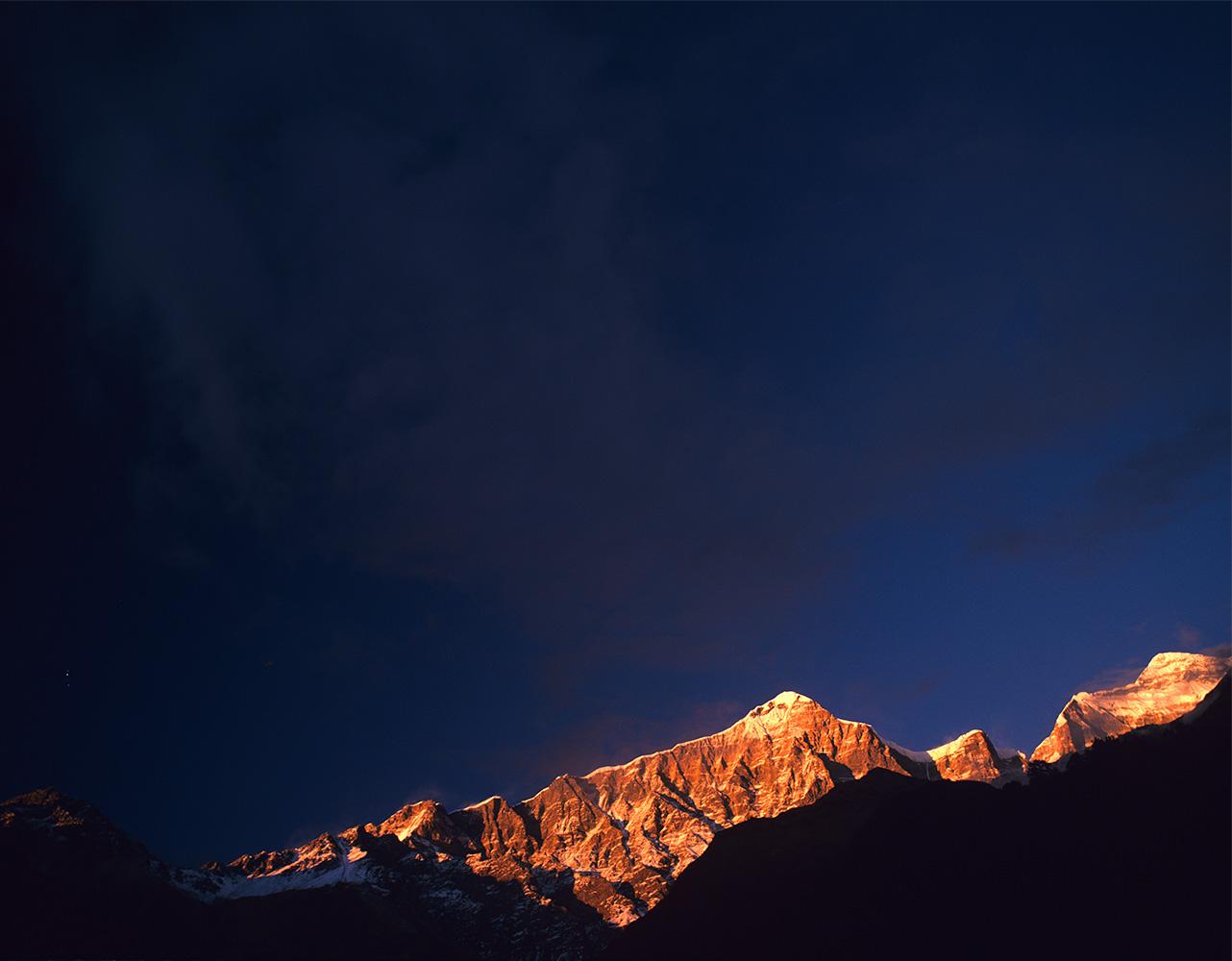 The south face from Darsinge Kharka, above the village of GurjagaonBronica ETRSi, 50mm, Fuji Provia