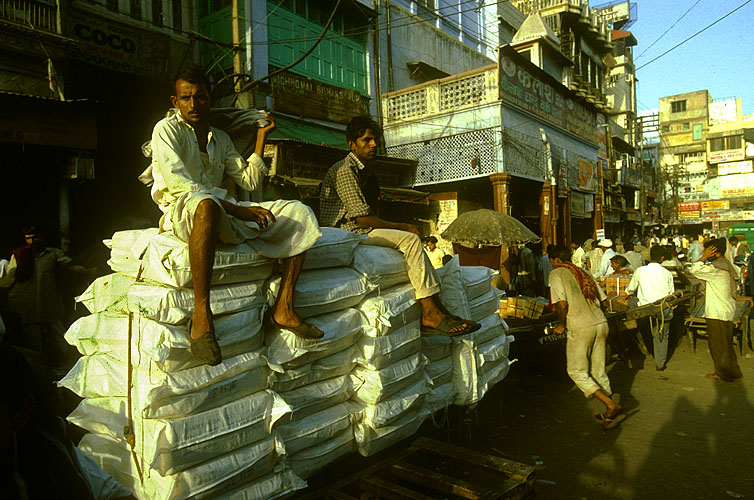 Delivery trucks cannot get into the labyrinthine world of Indian bazaars - goods are off-loaded outside and barrowed in to stallholders by men like theseNikon F5, 17-35mm, Fuji Velvia 100