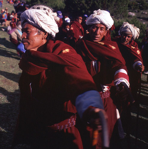 Central to Khasa culture are the dhamis, or village shamen. With their distinctive white turbans they are quite a sight at the head of the procession, and many are enthusiastic participants in the festivities.Bronica ETRS, 50mm, Fuji Velvia
