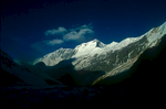 A panorama of Dhaulagiri II (on the right), III (7715m) and V (7618m) from base camp.Nikon FM2, 24mm, Fuji Velvia