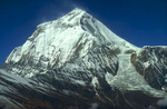 The spectacular east face and ice-fall, seen from Thulobugin Pass (4300m).Nikon FM2, 105mm, Fuji Velvia