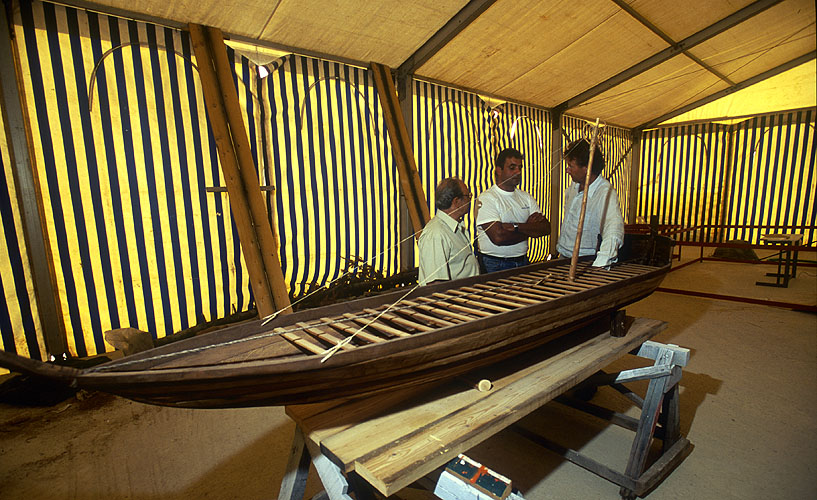 In a huge marquee at Pagasae (Iolkos), enthusiasts are re-building the Argos in its original form. Here, they show presenter Michael Wood a model of what the finished vessel will look likeNikon F5, 17-35mm, Fuji Velvia 100