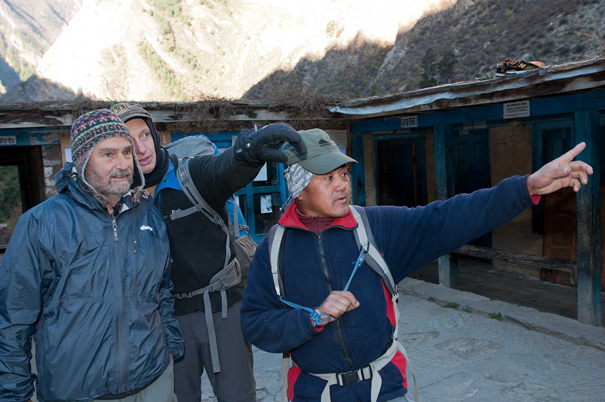 Chet Gurung and trekkers at this school in the Suli Gaad valley, which is partly financed by Tapriza Projects, Switzerland, and by the Friends of Dolpo in the USA