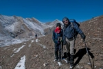 Trekkers descending north of this 5360m pass  on the way to Shey Gompa