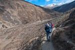 Trekkers heading away from Shey Gompah to visit the Kagyupa monastery of Tsa Kang