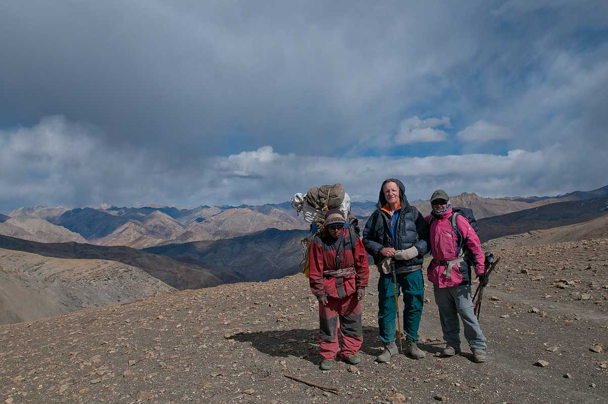 Trekkers on this high pass between Shey and Saldang in Dolpo, Nepal