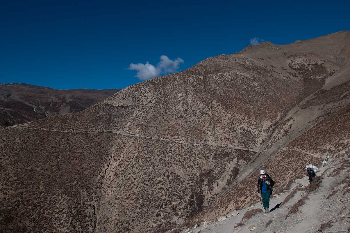 Trekkers on the high traversing trail towards Saldang from Namgung, Inner Dolpo, Nepal