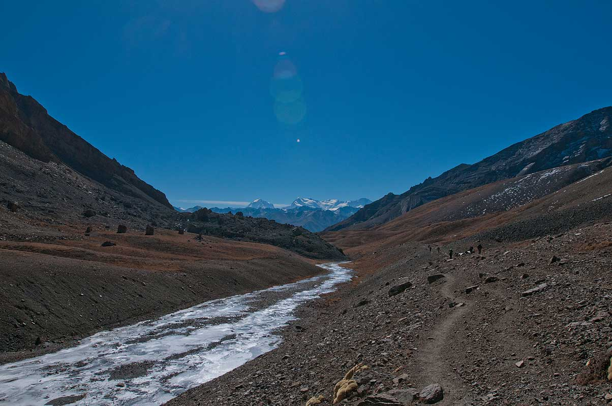 Descending from the pass towards Dho Tarap, with the Dhaulagiri Himal on the horizon