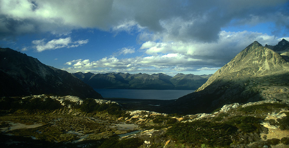 Otherwise known as Lago Kami, the huge glacial lake that bisects the mountainous southern part of Isla Grande in Tierra del Fuego. Seen here from near Lago Azul.Nikon FM2, 24mm, Fuji Velvia