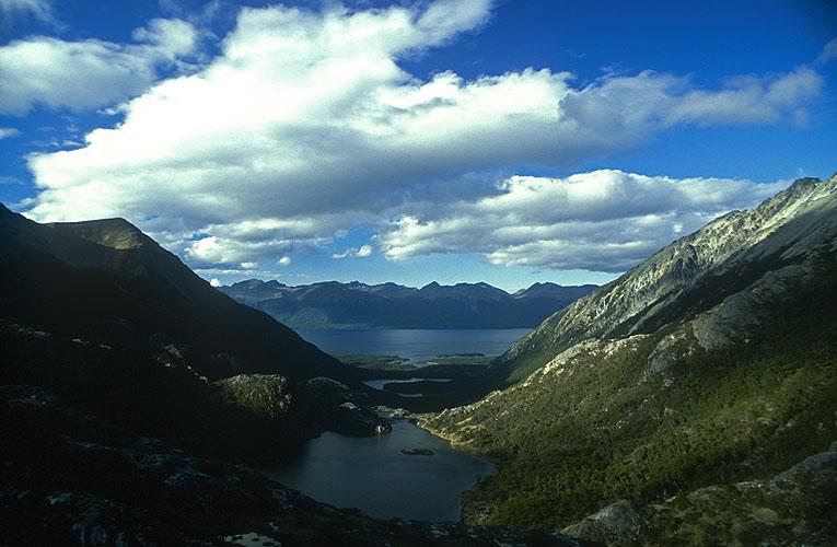 The Valley of Five Lagoons, looking north to Lago Fagnano from Laguna MariposaNikon FM2, 24mm, Fuji Velvia