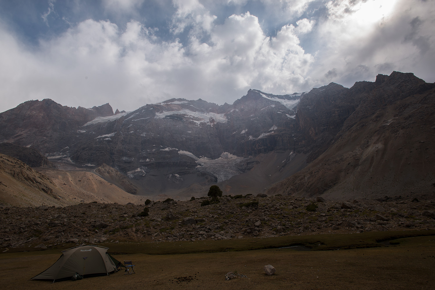 Camped on the shore of the lake beneath the north faces of Maria (4970m) and Mirali (5120m)