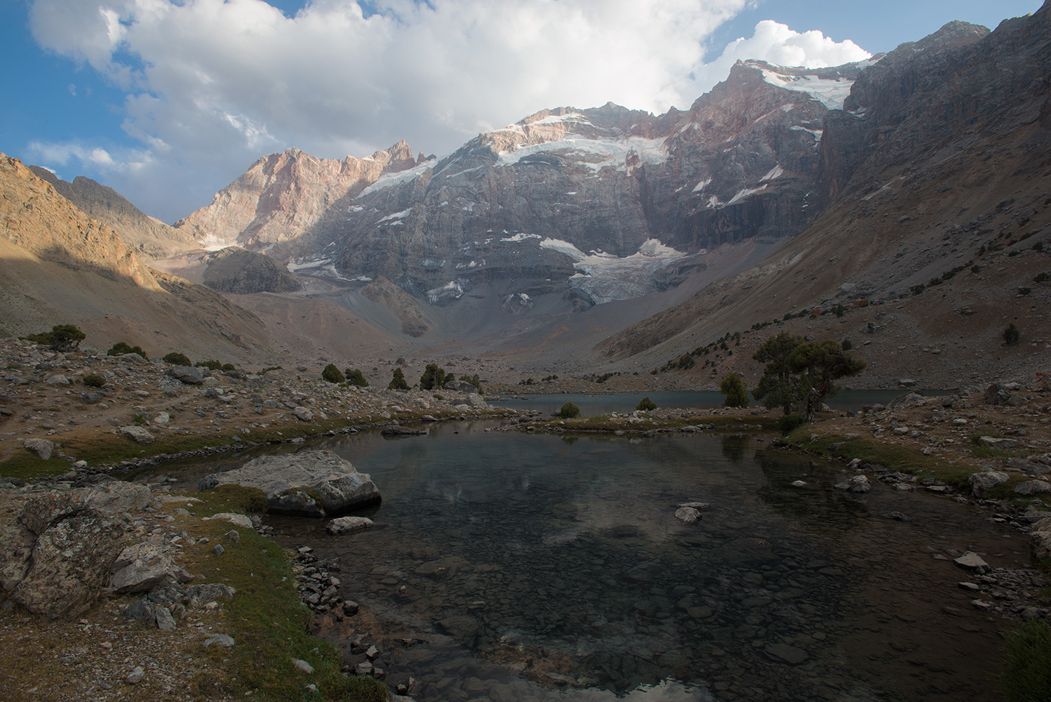 This lake is at 2985m imediately beneath the north faces of Maria (4970m) and Mirali (5120m)