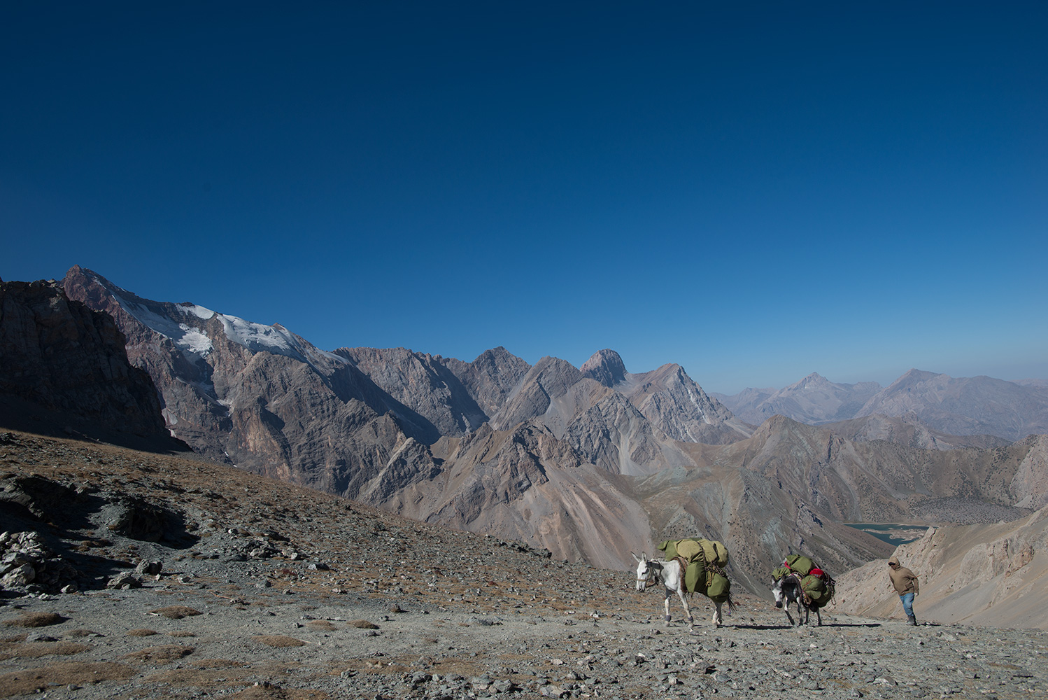 Mirali (5120m) on the left, Peak Moscow (5049m) right of centre, Kulikalon Lakes below.