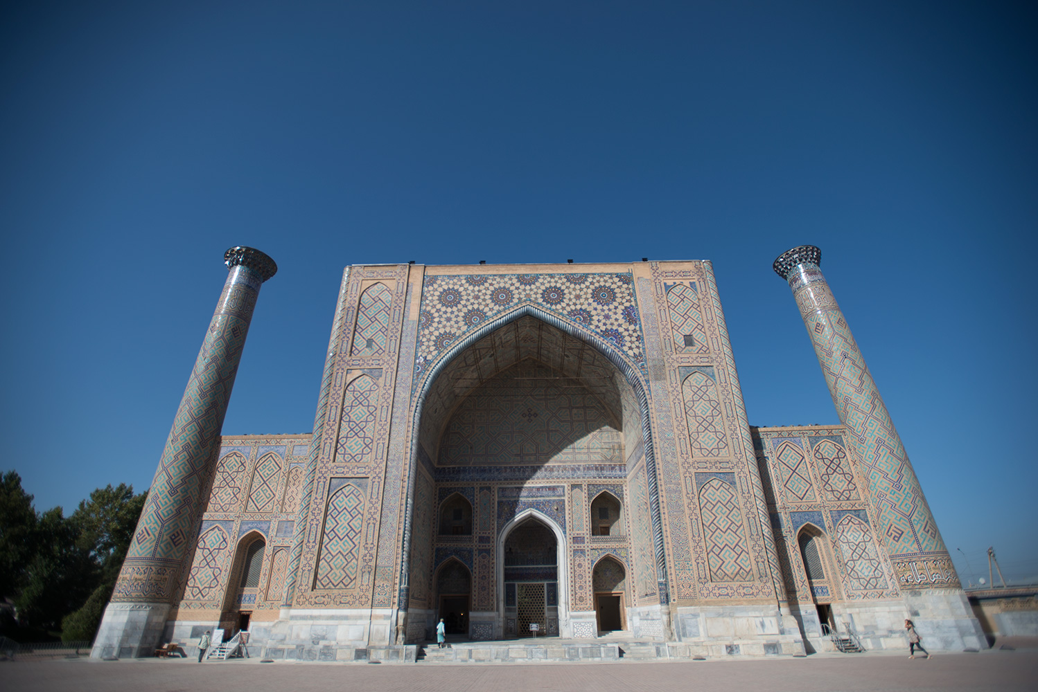 The scholar Ulug Beg was the grandson of Tamurlane, and he built this madrassah (Islamic college) in 1417-20. By the eighteenth century it had fallen into disrepair, but stunning restoration has been accomplished, most notably for the 600th anniversary of his birth in 1994.