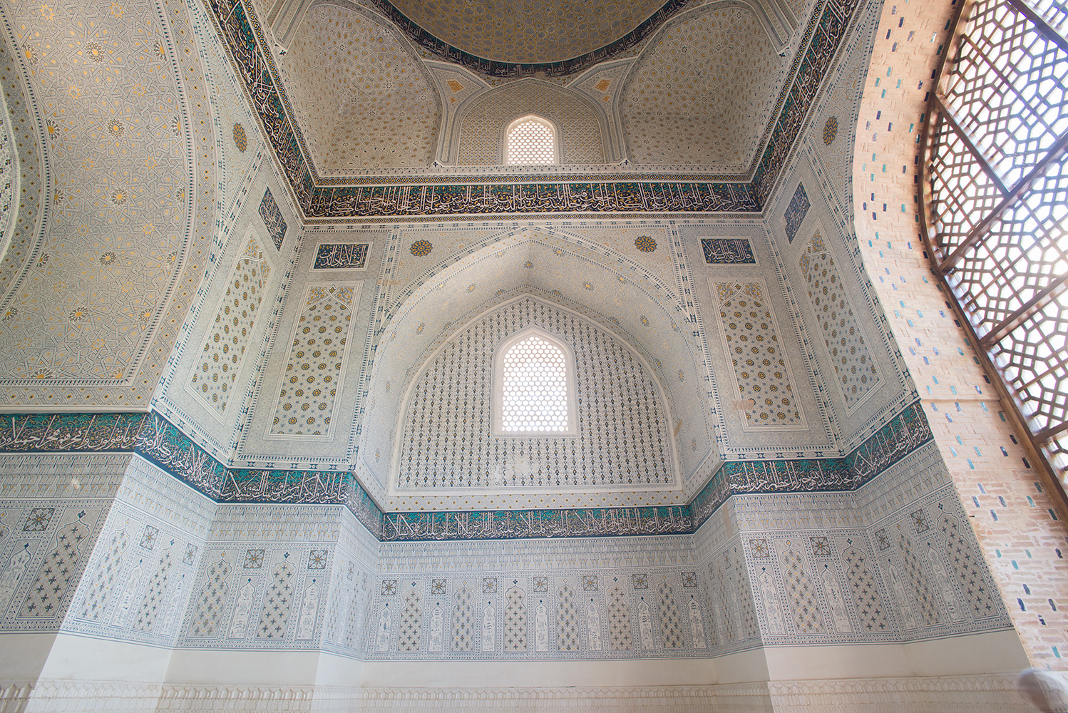 The completed restoration in one of the smaller side mosques in the complex.