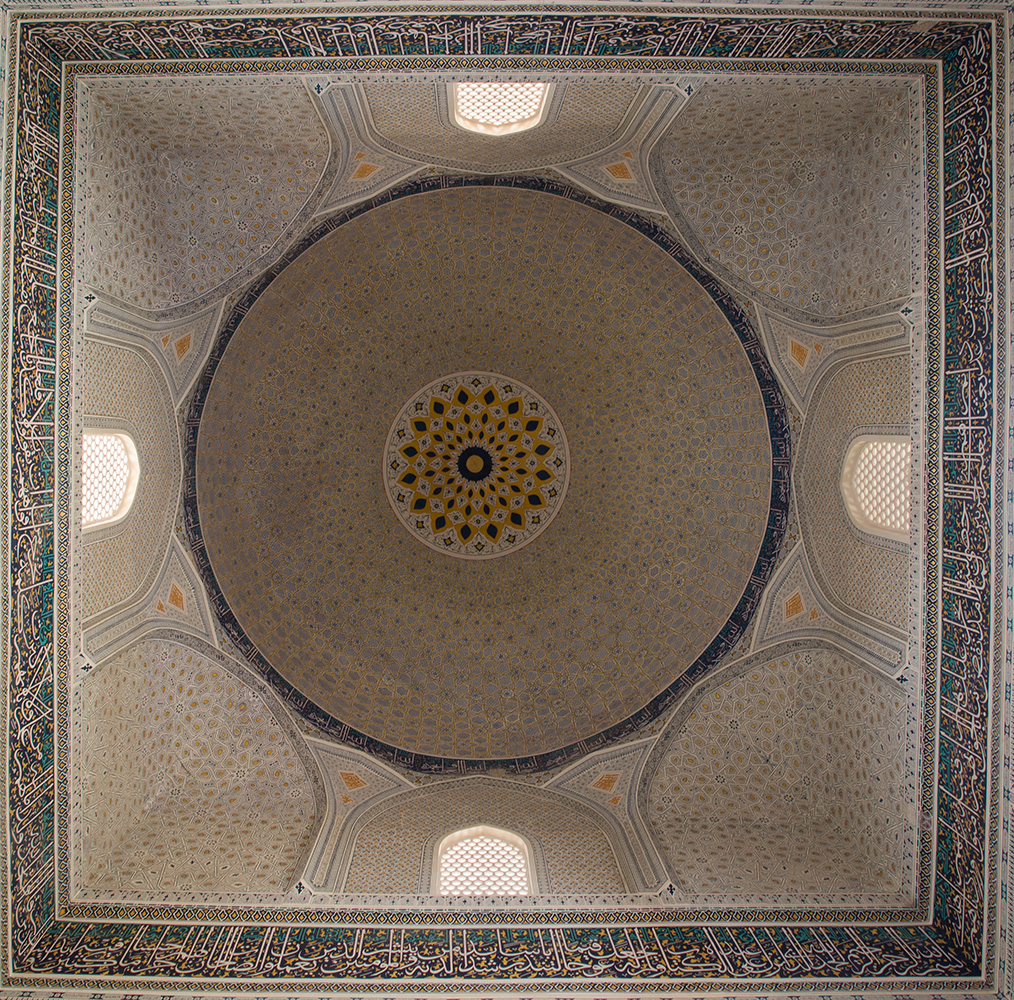The ceiling dome of the newly restored side mosque in the complex