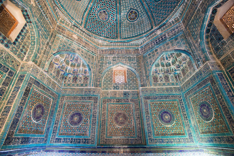 The interior of the mausoleum of Emir Timur's sister Shirin Beku Oka, 1385.The tilework is original.