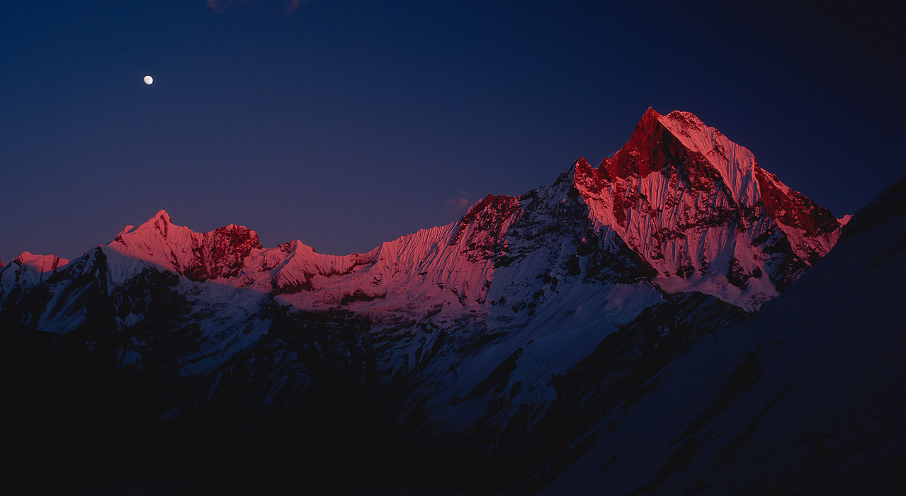 At sunset, from the Annapurna SanctuaryProject VeronicaMedium format images re-scanned in a professional glass film- holder with my Nikon Coolscan 9000 and Silverfast 8 software. These images display larger on the site - enjoy!Bronica ETRSi, 50mm, Fuji Velvia
