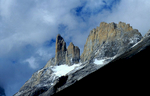 On of a series of spectacular rock-towers that line the eastern side of the Valle Frances, effectively forming the northern extension of the famous Cuernos del Paine group.Nikon FM2, 105mm, Fuji Velvia