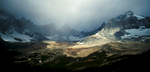 Storm clouds boiling up in the cirque of spectacular peaks at the head of the Valle Frances.Nikon FM2, 24mm, Fuji Velvia