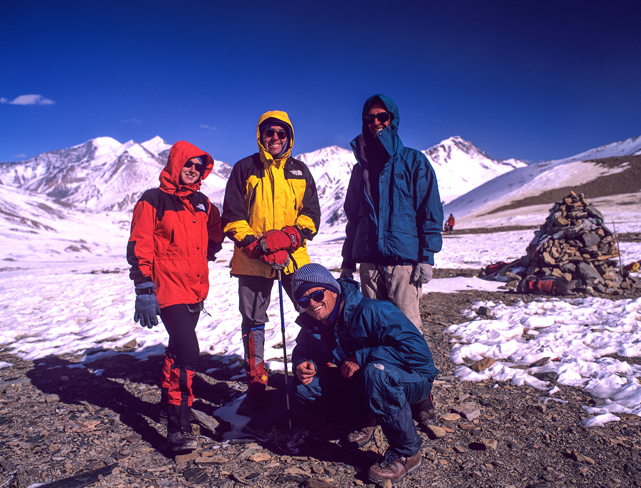 Nats Hawkrigg, Colin Wells, Rob Riddell & Steve Razzetti on French Pass in December 1998Bronica ETRSi, 50mm, Fuji Velvia