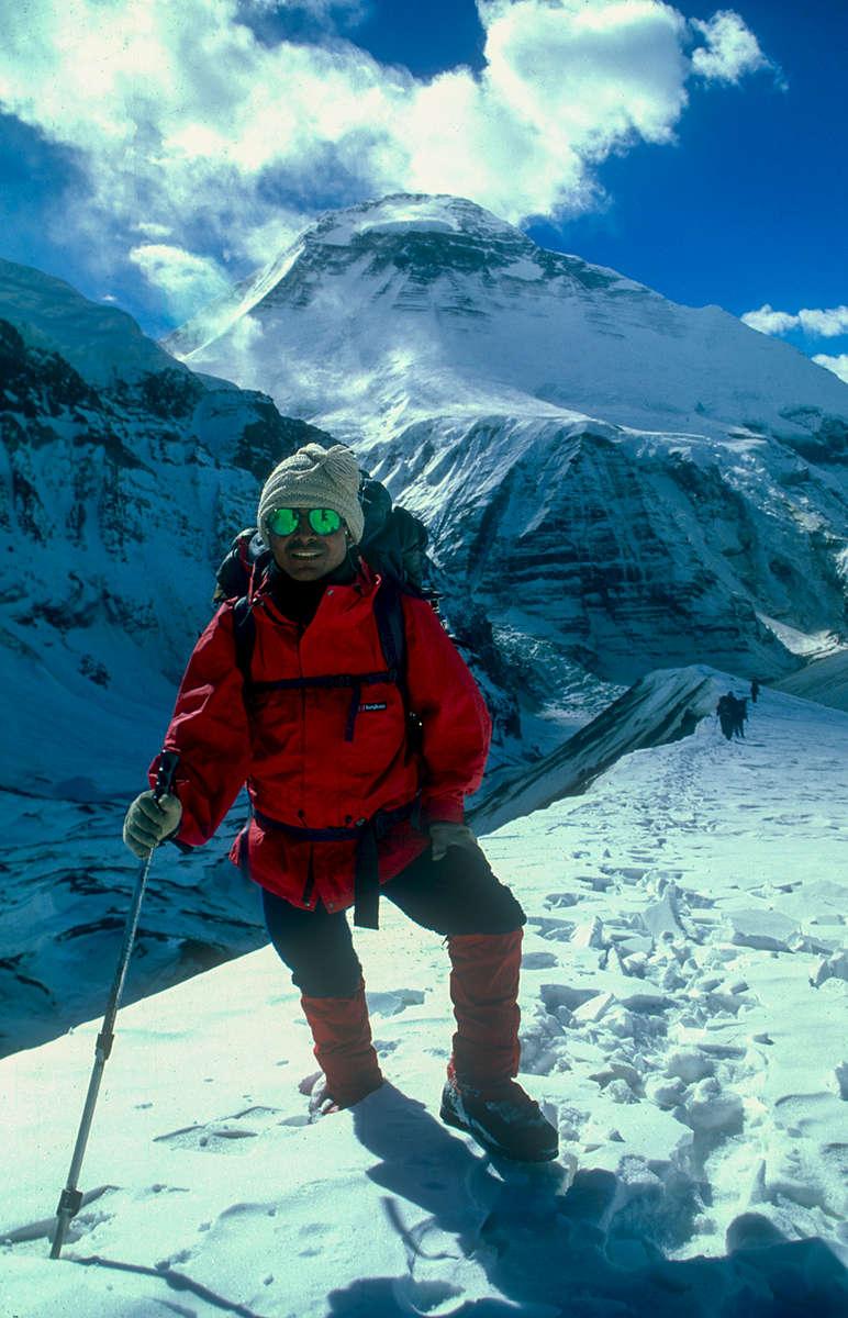 Pemba Chhiri approaching French Pass on our first trip. December 1998.Nikon FM2, 24mm, Fuji Velvia