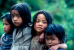Children at the village of Khesewa, two days into the southern approach to Kangchendzonga from the airstrip at Taplejung.Cannon A1, 50mm, Kodachrome 64