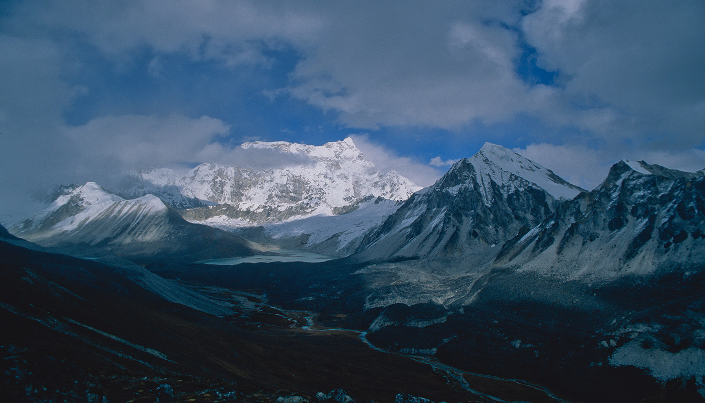 Also known as Rinchita, this is the highest unclimbed summit on earth. Seen here from a hilltop overlooking the upper Sasha Chhu valley