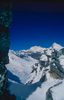 The southern flanks of the world's highest unclimbed peak, seen from a spur above the Nephu La in BhutanNikon FM2, 135mm, Fuji Velvia