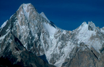 Telephoto of the west face from Goro. Gasherbrum II (8035m) is just visible over the right shoulder.Nikon F5, 180mm