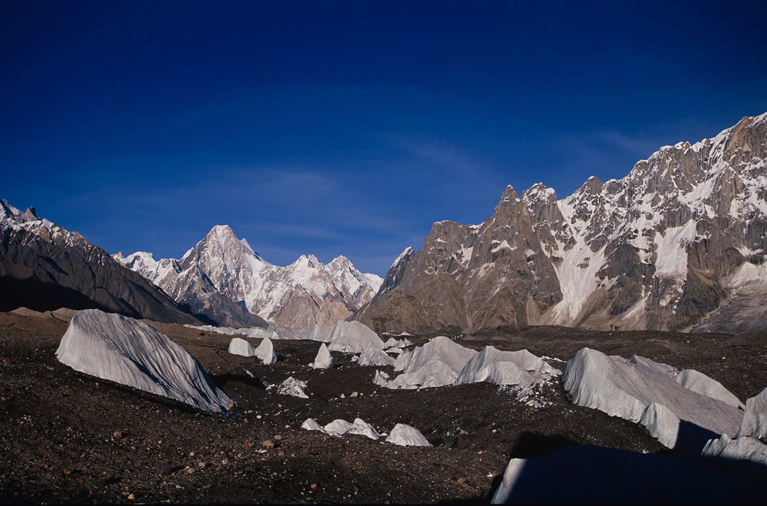 A view up the Baltoro glacier towards Concordia and the Throneroom of the Mountain Gods