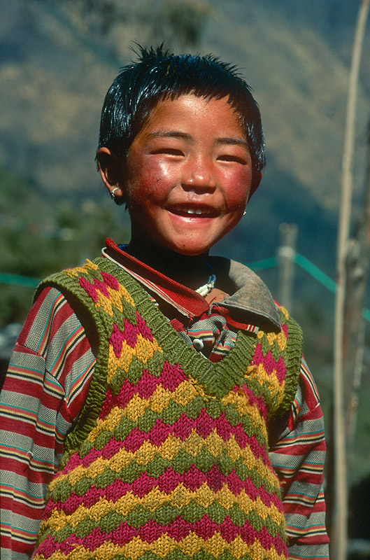 A Bhotia boy at the village of Ghunsa.Nikon FM2, 105mm, Fuji Velvia