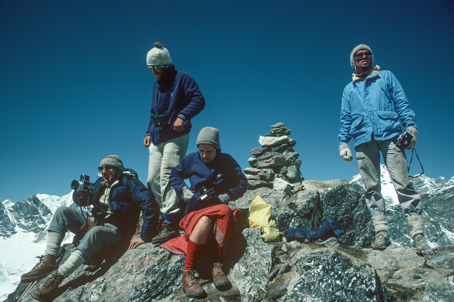 Trekkers on the summit of this viewpoint above Gokyo,April 1984Canon A1, 28mm, Kodachrome 64