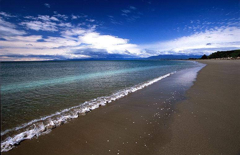 The beach near Pakawau, South Island, NZNikon F5, 17-35mm, Fuji Velvia