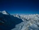From the summit of Gondoro Peak. Trinity peak is on the left, Layla peak in the centre.