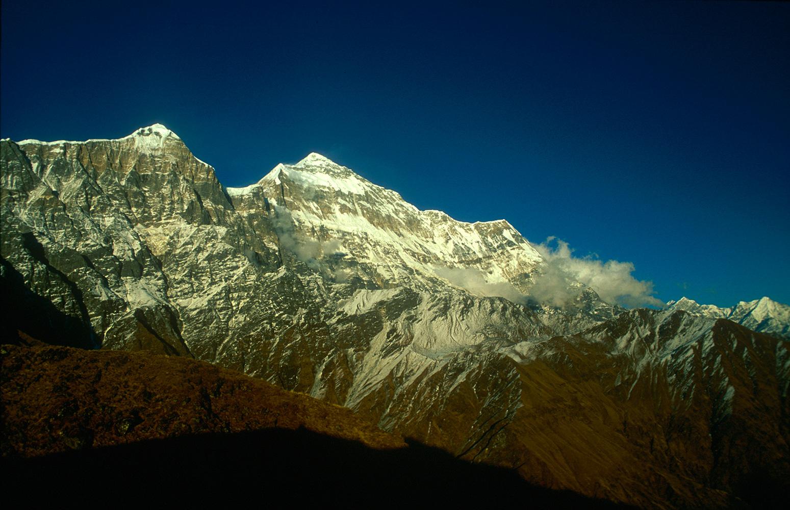 Evening light on Ghustung (6529m) and Gurja from Budzunge Bara (4590m).Nikon FM2, 24mm, Fuji Velvia