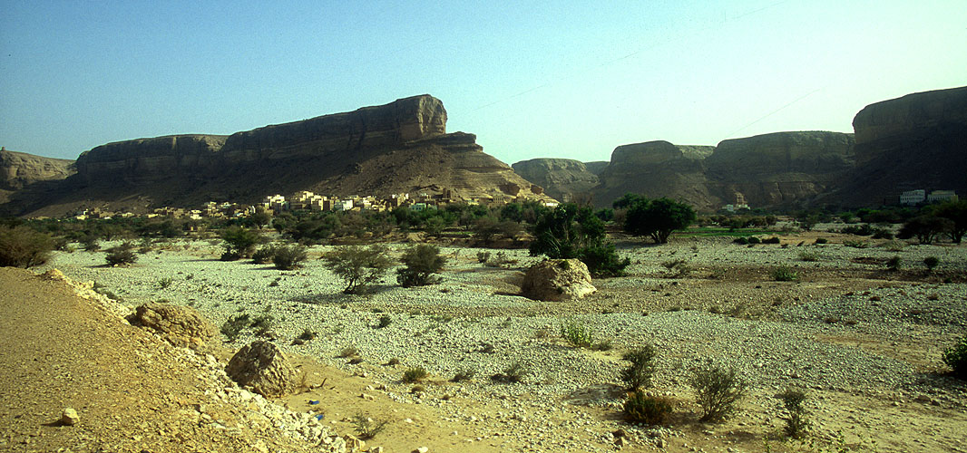 The town of Robat, at the head of this large wadi in the HadramawtNikon F5, 17-35mm, Fuji Velvia