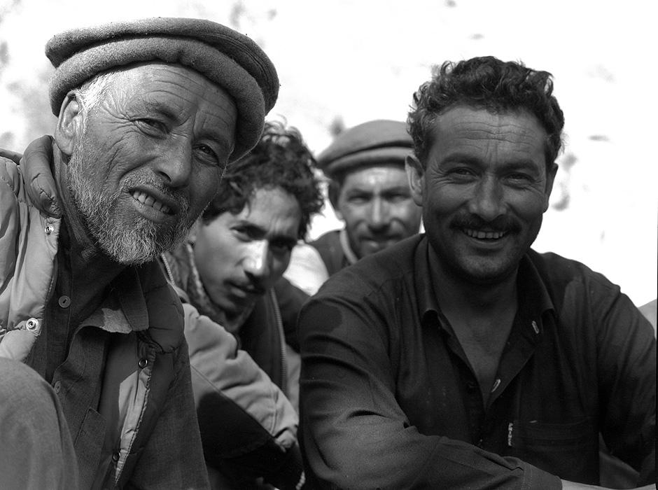 Portrait of Haji Mehdi, lambarder or headman of Askole, and Little Nabi, my sirdar on many treks and expeditions in Baltistan. At Askole.Bronica ETRSi, 70mm, Kodak T-Max 400 @ 800ASA
