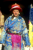 An elder of the village sporting his ceremonial clothes. These lavishly embroidered silks were brought from Tibet at the time of the foundation of the village gompah under the auspices of Tholing. They are approximately 1000 years old.North-west NepalNikon FM2, 17-35mm, Fuji Velvia 100