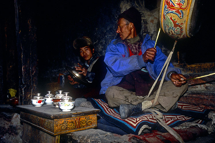 Monks supplying the musical accompaniment to the sacred masked dances during a festival.North-west NepalNikon FM2, 17-35mm, Fuji Velvia 100