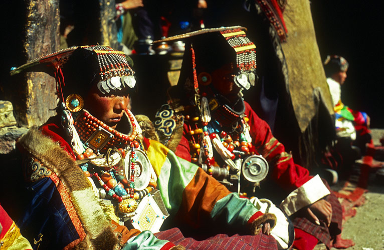 Khojar women in their wedding finery during a festival at the monastery.North-west NepalNikon FM2, 17-35mm, Fuji Velvia 100