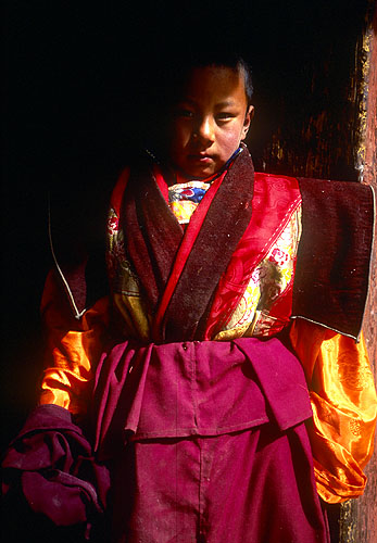 An incarnate lama at the monastery.North-west Nepal.Nikon FM2, 17-35mm, Fuji Velvia 100