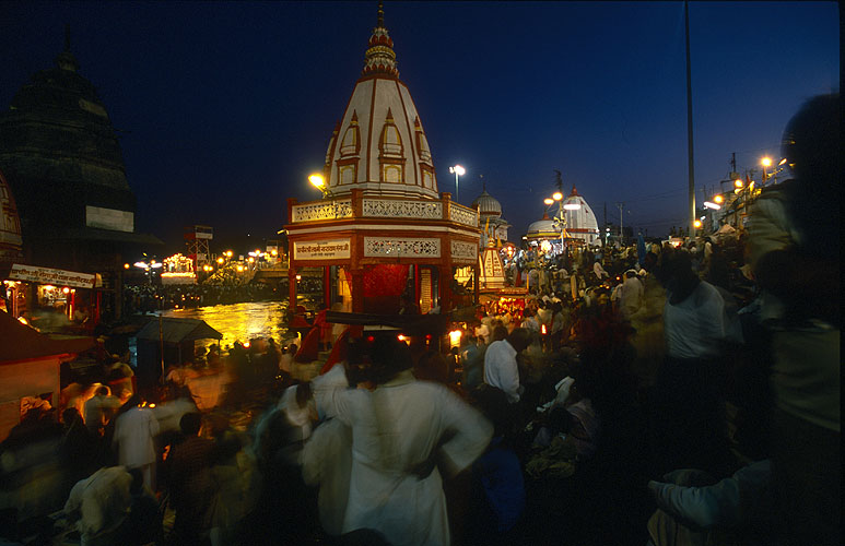 On the banks of the holy river Ganges, Haridwar during a mela is paradise on earth for the hundreds of thousands of pilgrims gathering thereNikon F5, 17-35mm, Fuji Velvia 100