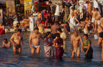 Pilgrims bathing in the Ganges